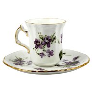 Spode Victorian Violets Demitasse Cup and Saucer Hammersley Bone China English
