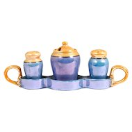 Blue Orange Porcelain Lustreware Condiment Set Salt Pepper Mustard Tray Japan Vintage