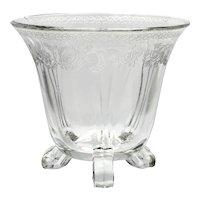 Wheeling Mayonnaise Bowl Etched Flowers Vintage Whipped Cream Elegant Glass