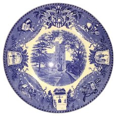 """Blue & White Wedgewood """"West point"""" plate - Administration Building"""