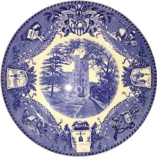 "Blue & White Wedgewood ""West point"" plate - Administration Building"
