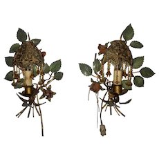 Pair of Italian export sconces with hand-beaded fringe