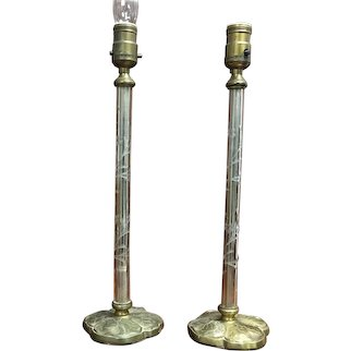 Pair of Glass Wheel-Cut Dresser Lamps w Brass Base