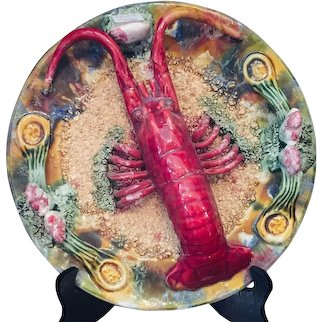 Majolica Lobster Plate from Portugal