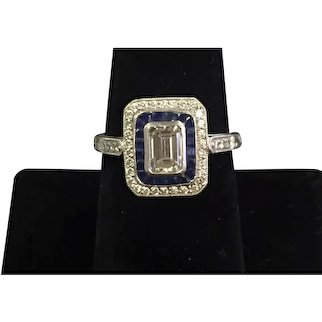 Platinum Diamond and Sapphire Ring