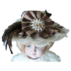 Lovely Straw Hat with Lace, Feathers, and Ribbon