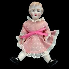 "6"" German Bisque Doll House Doll in Pink Dress - Red Tag Sale Item"