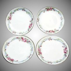 Set of 10 LIMOGES Butter Pats in WEDDING WREATH Pattern French Porcelain c.1900