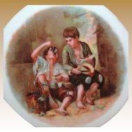Murillo's MELON EATERS Scene Cabinet Plate Bavarian Porcelain c.1918