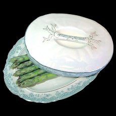 Staffordshire Covered Asparagus Boote' or Platter by John Maddock & Sons c.1888