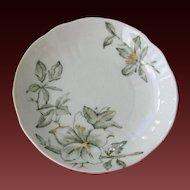 Set 6 VICTORIAN BUTTER PATS Gilded Moss Green Floral Design circa 1800's