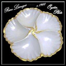 Victorian LIMOGES Gilded Oyster Plate Tressemann 'n Vogt / A. Lanternier