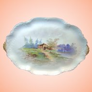Art Nouveau LIMOGES' Handpainted Tray by Charles Ahrenfeldt, c.1900 Rural Scene