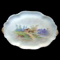 LIMOGES' Handpainted Rural Scene Tray Charles Ahrenfeldt circa 1900