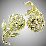 Vintage Coro Designed Camellia Rhinestone Lapel - Scatter Pins c.1940's