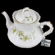 LA BELLE's Ornate VICTORIAN Gilded TEAPOT w/ Yellow Floral Design c.1898