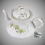 LA BELLE China's VICTORIAN Gilded Teapot, Yellow Flowers c.1898