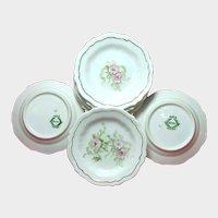 Eight Art Nouveau Gilded Porcelain BUTTER PATS Pink ROSES c.1900
