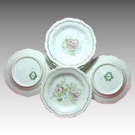 Eight Art Nouveau Gilded Porcelain BUTTER PATS Pink ROSES c.1900