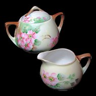 Art Nouveau APPLE BLOSSOM Creamer 'n Sugar-Hand Painted c.1900