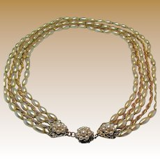MIRIAM HASKELL Vintage 5-Strand Necklace, Glass PEARL 'n Russian Gilt Chain c.1950's