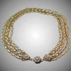Vintage MIRIAM HASKELL 5-Strand Necklace Glass PEARL 'n Russian Gilt Chain c.1950's