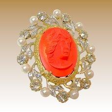 Vintage NETTIE ROSENSTEIN Brooch, Hi-Relief Glass Coral Cameo c.1950