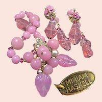 ~MIRIAM HASKELL Vintage ~ Bracelet 'n Earrings ~ Pink Pâte de Verre 'n Glass Pearls~
