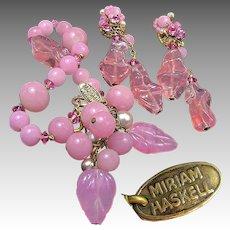 Vintage MIRIAM HASKELL Bracelet 'n Earrings, Pink Pâte de Verre 'n Glass Pearls