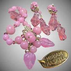 MIRIAM HASKELL Vintage Bracelet 'n Earrings, Pink Pâte de Verre 'n Glass Pearls