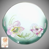 Art Nouveau German Hand-Painted FLOWERS TRAY c.1900