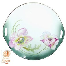 Art Nouveau Hand-Painted PINK FLOWERS German TRAY c.1900