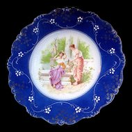 Art Nouveau LA BELLE China FLOW BLUE Portrait 'n Garden Scene Plate