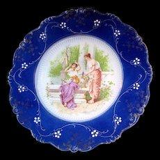 Art Nouveau LA BELLE China FLOW BLUE Portrait 'n Garden Scene Plate