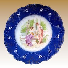 Art Nouveau LA BELLE China FLOW BLUE Portrait Display Plate