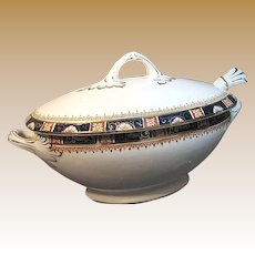 Art Nouveau SAUCE TUREEN, Cobalt 'n Gilt Windsor by Enoch Wood & Sons c.1907