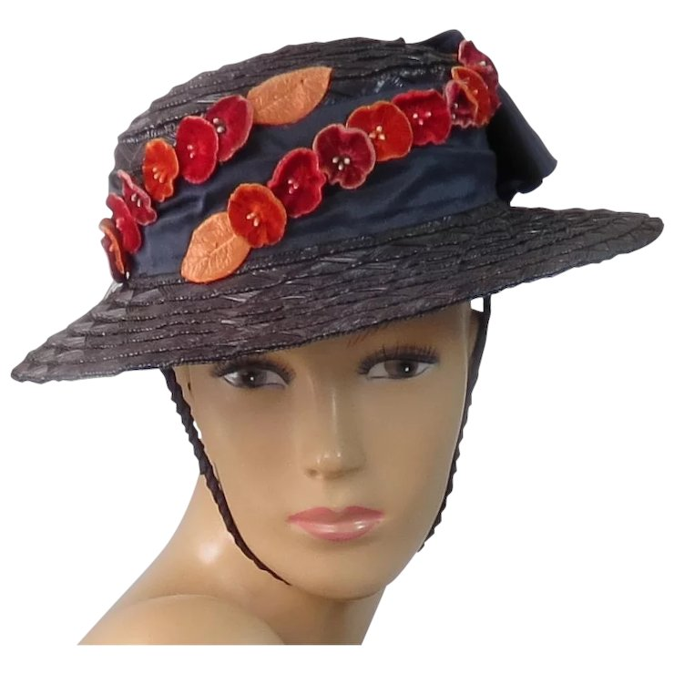 VINTAGE Straw Boater Skimmer Hat with Satin Ribbon and Velvet Flowers 59490824bbdb