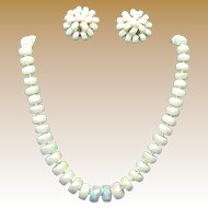 VOGUE Jlry's Classic Iridescent Glass Necklace w/ Earrings Set