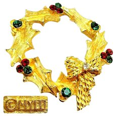 Vintage MyLu Rhinestone Christmas Wreath Brooch c.1960's