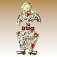 Vintage Articulated DUTCH BOY Rhinestone Lapel BROOCH c.1940's