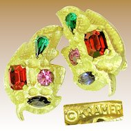 Vintage KRAMER Jewel-tone Earrings w/ Glass Prong Set Stones