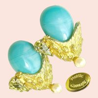 ~HATTIE CARNEGIE Gilt Earrings ~ Vintage Glass ~ Turquoise 'n Rhinestones~
