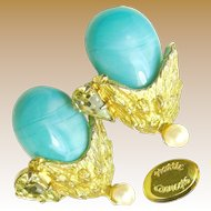 Vintage HATTIE CARNEGIE Earrings Glass Turquoise 'n Rhinestones