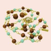 ~CASTLECLIFF Mississippi Mud BAKELITE~ Art Glass Vintage Necklace Set~ ~Circa 1950's~