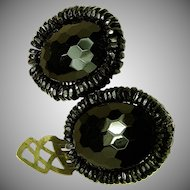 Vintage MIRIAM HASKELL Black Glass Dress Clips c.1930's Classics