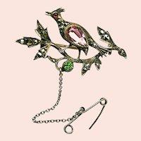 Partridge in Pear Tree Silver Brooch w/ 'Paste' Stones c.1900, Antique