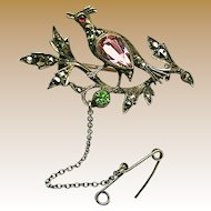 Antique Partridge in Pear Tree Silver Brooch w/ 'Paste' Stones c.1900