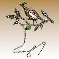 Antique Partridge in Pear Tree Silver Brooch w/ 'Paste' Stones c.1900