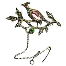 Partridge in a Pear Tree Continental Silver Brooch w/ Paste Stones c.1900