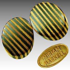 Vintage MIRIAM HASKELL ZEBRA Stripe Earrings Real Wood Slices